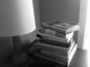 Unwanted books bedside table
